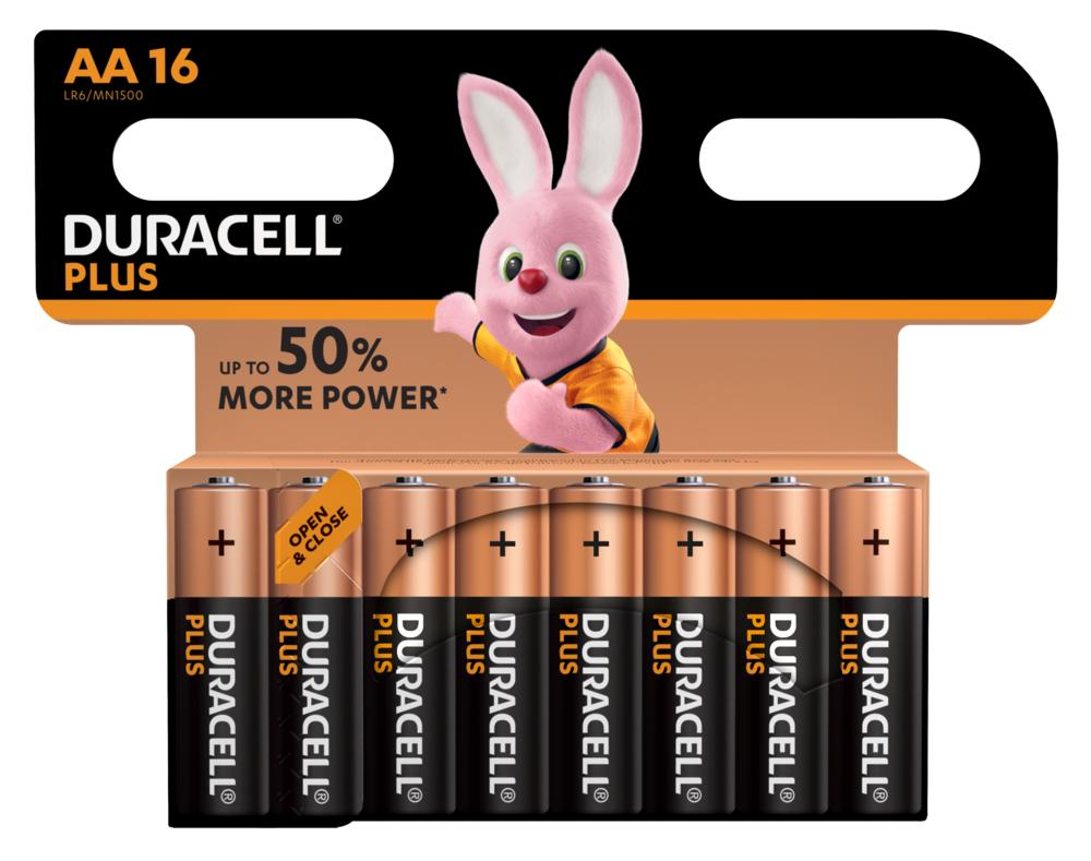 Duracell LR6 Batterie Plus Power (Alkaline), AA/Mignon 16-er Blister