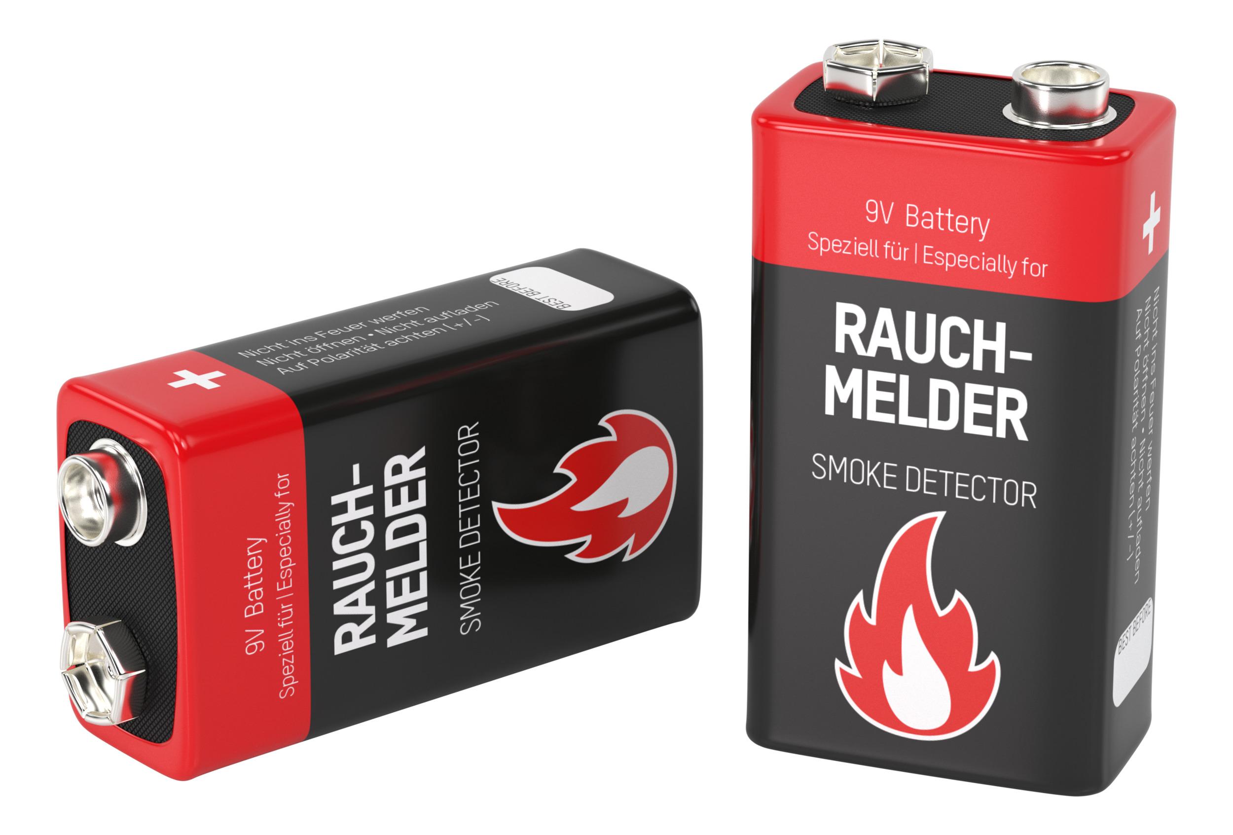 Ansmann 6LR61 Batterie (Alkaline), 9V-Block, speziell für Rauchmelder (2-er Blister)