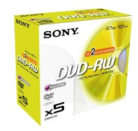 DVD-RW Sony 4,7GB 120min 2x (Jewel Case) 5-er Pack